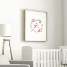 Watercolor Floral Monogram Print   Baby Girl Nursery   Little Girls Room   Flower Crown   Flower Child