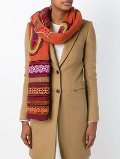Etro applique embroidered wool scarf Orange