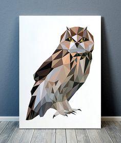 Geometric poster Owl print Bird print Polygonal decor TOA182