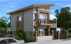 Carlo is a 4 bedroom 2 story house floor plan that can be built in a 180 square meter lot. With at least 12 meters width, this house design can conveniently stand with all sides free from firewalls… Two Story House Design, 2 Storey House Design, House Front Design, Small House Design, Modern House Design, Four Bedroom House Plans, Bungalow House Plans, Bungalow House Design, Modern House Plans