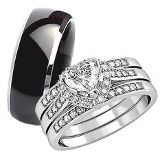 his hers 4pcs black titanium matching band cute women princess cut within sterling silver wedding rings his and hers