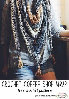 Crochet this easy coffee shop wrap by Two of Wands Crochet Diy, Poncho Au Crochet, Pull Crochet, Crochet Shawls And Wraps, Crochet Scarves, Crochet Clothes, Crotchet, Crochet Cowls, Crochet Triangle Scarf