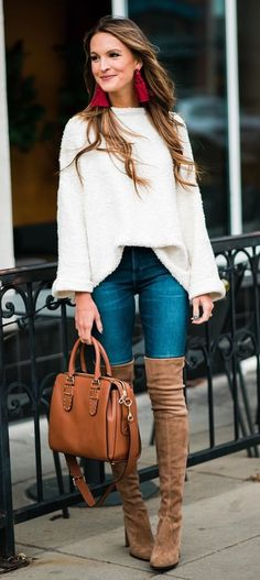 #winter #outfits  women's white long sleeves shirt, blue jeans and brown suede knee-high heeled boots outfit