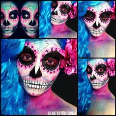 Diamond sugarskull by the talented @artsie_fartsie_krystal @artsie_fartsie_krystal @artsie_fartsie_krystal  Nothing I love more than sugar skulls! Be sure to check her out for more look! For this look I used @Kryolan aqua color in light pink & light, & day glow in hott pink @Sugarpill Cosmetics in dollipop, 2am, acid Berry, velocity, mochi, @MACcosmetics acrylic paint in black & white. #beautybydehsonae #artsiefartsiekrystal #recreateart - @beautybydehsonae- #webstagram