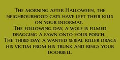 writing prompt<<This isn't funny. I'm reading this the day after Halloween and when I woke up I found my cat outside the door with a rat?<<<In the next few days, a serial killer will show up at your doorstep with his latest victim. Book Writing Tips, Creative Writing Prompts, Writing Resources, Writing Help, Writing Ideas, Book Prompts, Dialogue Prompts, Story Prompts, Writing Promts