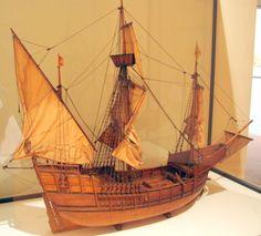 The Santa Maria, maquette of Christopher Columbus' ship at the Mercatormuseum in Sint-Niklaas, Belgium