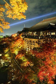 Autumn lighting, Kiyomizu-dera, Kyoto, Japan.