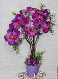 """Купить Топиарий """"Карнавал"""" с нестандартной кроной - комбинированный, топиарий из цветов, топиарий ручной работы"""