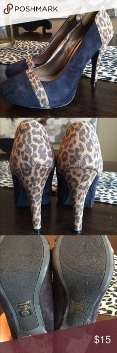 Sexy Leopard Heels Sz 7.5 Like new, faux suede black and leopard heels.  Size 7.5.  Cute for work or girls night out! Shoes Heels