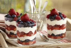 This tiramisu mixed berry trifle recipe is so delicious and a true crowd favorite. Enjoy classic tiramisu with fresh berries and homemade whipped cream. Keep this recipe in mind when looking for new dessert recipes! Mascarpone Dessert Recipe, Receita Trifle, Tiramisu Cups, Blueberry Cheesecake Bars, Fruit Tart, Fruit Salad, Mixed Berries, Cookies Et Biscuits, Just Desserts