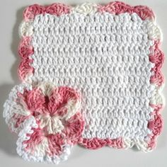 """Free pattern for """"Pink Pansy Dishcloth""""!"""