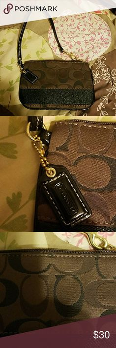 ORIGINAL COUCH WRISTLET used brown couch wristlet, no rips or tears, small pen and red stain on inside COUCH Bags Clutches & Wristlets