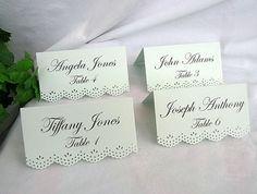 Place Card Name Card Escort Mint Green Gold Wedding Dainty Lace Edge Shabby Chic Custom Printed or Blank Any Color by AllThingsAngelas on Etsy https://www.etsy.com/listing/235556310/place-card-name-card-escort-mint-green