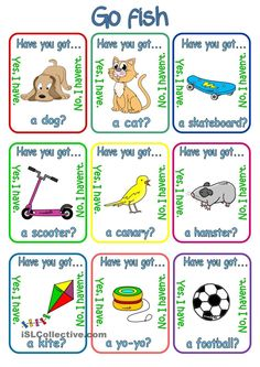 Go fish - Have you got. + pets & toys - English ESL Worksheets for distance learning and physical classrooms English Games, English Resources, Kids English, English Reading, English Activities, English Lessons, Learn English, English Exercises, Classroom Games