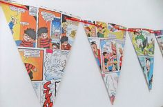 Beano Bunting - paper bunting upcycled from Beano books - Eco-Friendly Bunting #folksy
