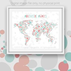 World map art printable - Coral teal turquoise dot pattern - Nursery art - Kids room decor Large poster 16x20 - Instant download
