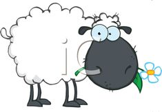 iCLIPART - Cartoon Sheep Chewing on a Daisy