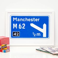 Personalised Motorway Sign Print by The Design Conspiracy, the perfect gift for Explore more unique gifts in our curated marketplace. Sign Printing, Screen Printing, Motorway Signs, Deli Shop, Thoughtful Gifts, Signage, Traveling By Yourself, Unique Gifts, How To Memorize Things
