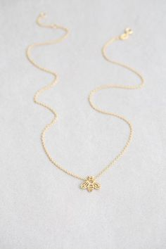 Honey Bee Necklace (14K Gold Plated Sterling Silver)