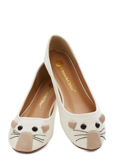 Mouse Party Flat. The appetizers are prepared and the tunes are pumping through the speakers, so you slip your toes into these adorable mouse flats and wait for your first guests to arrive! #white #modcloth