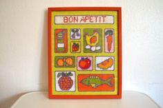 Bon Apetit Framed Kitchen Needlepoint 12 x 14 Inch