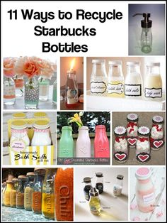 25 Simple but Beautiful Crafts With Starbucks Glass Bottles Ideas 39 bottle crafts diy Starbucks Bottle Crafts, Starbucks Glass Bottles, Diy Bottle, Wine Bottle Crafts, Mason Jar Crafts, Crafts With Glass Bottles, Mason Jars, Bottles And Jars, Glass Jars