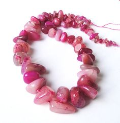 HoneySuckle Pink Natural Nuggets Jade Beads/ by BijiBijoux on Etsy, $19.00 #supplies #beads #pink jade nuggets