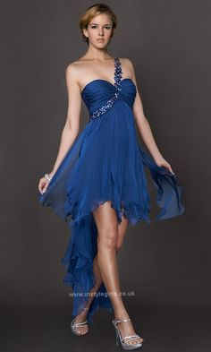 Blue high low prom dresses