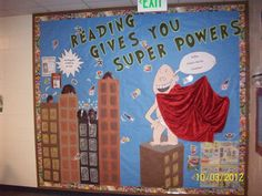 Elementary school bulletin board promoting the library! Is this educational? I already have the city. Superhero School, Superhero Classroom, Classroom Themes, Superhero Bulletin Boards, Reading Bulletin Boards, School Displays, Library Displays, Book Displays, Library Themes