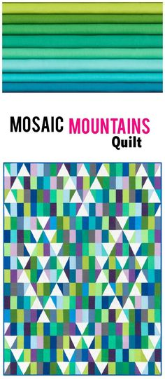 Kona Cotton Solids Mosaic Mountains Cool Quilt Kit Robert Kaufman Fabrics KITP-1765-21. Modern triangle quilt pattern using Kona Cotton. Modern solids quilt. affiliate link.
