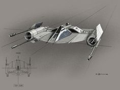 [Fighter] Star Wars Episode II: Attack Of The Clones, concept art by Warren Fu