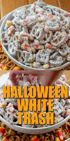 Halloween White Trash mix is a no-bake salty and sweet dessert. A mixture of peanuts, pretzels, candy corn and white chocolate vanilla melts. food for party videos appetizers dip recipes HALLOWEEN WHITE TRASH MIX Entree Halloween, Dessert Halloween, Halloween Treats For Kids, Halloween Party Snacks, Halloween Appetizers, Women Halloween, Halloween Decorations, Halloween Halloween, Halloween Makeup