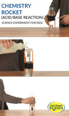 This is such a fun science experiment to do at home! The classic combination of vinegar and baking soda launches a homemade, table-top rocket. Click the image to to learn more!