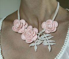 Crocheted Roses Necklace in Peach and Cream by mygiantstrawberry