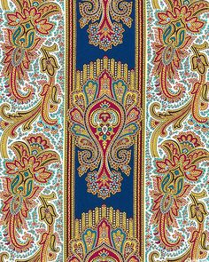 New Orleans - French Quarter Fantasy - Midnight Blue 'New Orleans' by Jean Ann Wright for Newcastle Fabrics. Motif Design, Paisley Design, Border Design, Paisley Pattern, Textile Design, Pattern Design, Love Wallpaper, Fabric Wallpaper, Textile Patterns