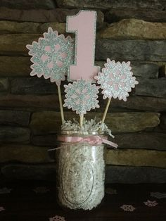 Onederland Birthday Party Centerpiece Snowflake by PaperMadeParty