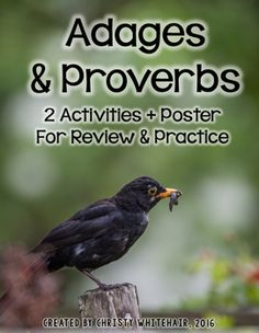 Adages & Proverbs: Activities and Poster for Upper Elementary Adages And Proverbs, Proverbs 2, 4th Grade Ela, Figurative Language, Upper Elementary, Wise Words, Poetry, Students, The Unit