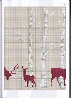 Deer silhouette & trees part 2 of 4 Xmas Cross Stitch, Just Cross Stitch, Cross Stitch Borders, Cross Stitch Animals, Cross Stitch Charts, Cross Stitch Designs, Cross Stitching, Cross Stitch Patterns, Blackwork Embroidery