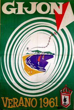 Cartel de Isaac del Rivero promocionando el verano de 1961 en Gijón.