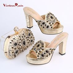 WesternRain Italy Style Light Gold  Rhinestones Luxury Wedge Sandals With Women Dinner Party Bag Set