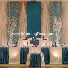 Wedding Reception Head Table Backdrop Style 49 New Ideas Diy Wedding Backdrop, Wedding Reception Decorations, Wedding Centerpieces, Wedding Table, Decor Wedding, Wedding Ideas, Wedding Draping, Party Backdrops, Hotel Reception