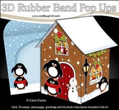 3D Rubber Band Pop Up Christmas Card - Penguins Are Having Fun At The Christmas Gingerbread House
