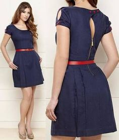 Resultado de imagem para vestido azul marinho com cinto vermelho