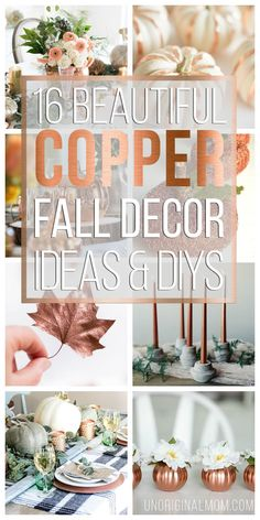 Add some metallic texture and rustic glam to your fall decor with these beautiful and inspiring copper fall decor ideas, plus some easy copper DIY projects. Fall Home Decor, Autumn Home, Copper Decor, Copper Kitchen Decor, Thanksgiving Centerpieces, Diy Thanksgiving, Fall Projects, Fall Table, Fall Diy