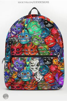 * Calaveras Pequeñas - Little Sugar Skulls Backpack by #Gravityx9 at Society6 ~ Calaveras in a variety of styles and colors. Great for Dia De Los Muertos or anytime! * back to school supplies high school * back to school supplies * school shopping * backpacks for teens * backpacks for school * school shopping list * school supplies high school * mexico themed backpack * sugar skulls backpack * #backtoschool #schoolbags #schoolshopping #backpacks  #diadelosmuertos #calavera 0820 School School, School Bags, High School, Back To School Backpacks, Spanish Design, Flag Art, Backpack For Teens, Back To School Supplies, School Shopping
