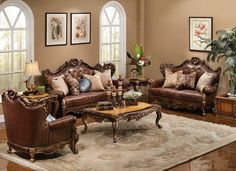 antique style traditional wing back formal living room furniture set