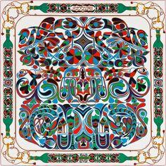 Scarf 140 Hermès | Folklore d'Henri d'Origny c/w 12 Folklore d'Henri d'Origny Hermes silk twill giant plume scarf 140cm Henri d'Origny