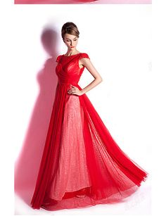 Prom/Formal Evening Dress A-line Bateau Floor-length Tulle Dress – CAD $ 250.19