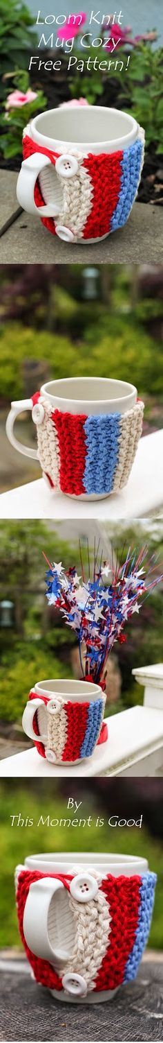 Loom Knit Mug Cozy! Get Patriotic! Free Pattern for this Patriotic Loom Knit Mug Cozy by This Moment is Good.