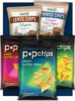 BIG NEWS! (Are you sitting down? Have you eaten? We don't want you fainting.) Popchips, one of our very favorite crunchy snacks EVER, has a line of TORTILLA CHIPS hitting the market! We've tried 'em, and they're FANTASTIC! The flavors are Ranch (ahhh... so good!), Salsa (fantastic!), Chili Limón (EXTREME yum), and Nacho Cheese (AMAZING!). Each 1-oz. serving (about 16 chips) has 120 calories, 4g fat, 135 - 190mg sodium, 20g carbs, 2g fiber, 0 - 1g sugars, and 2g protein (PointsPlus® value…